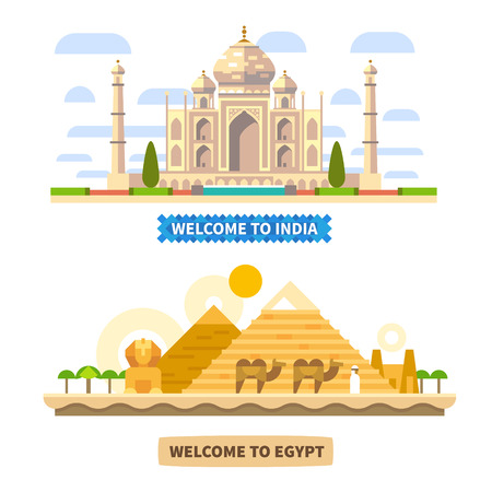 Welkom bij India en Egypte. Tempel en piramides. Vector Flat landschappen illustraties Stock Illustratie