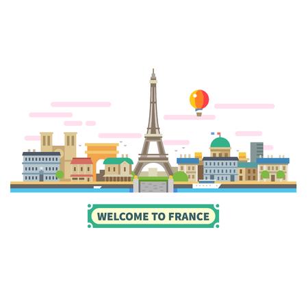 the welcome: Bienvenido a Francia. Lugares de inter�s de Par�s, la Torre Eiffel en globo paisaje. Vector ilustraci�n plana Vectores