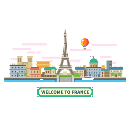 eiffel: Welcome to France. Attractions of Paris the Eiffel Tower landscape balloon. Vector flat illustration