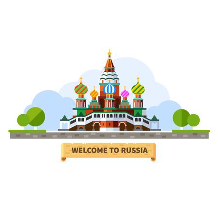 Chào mừng bạn đến Nga. Nhà thờ Moscow cảnh quan. Vector hình minh họa phẳng