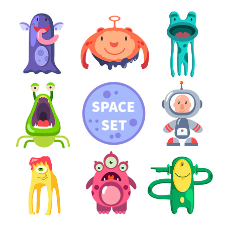 エイリアンと宇宙飛行士スペース世界。ベクトル フラット イラスト