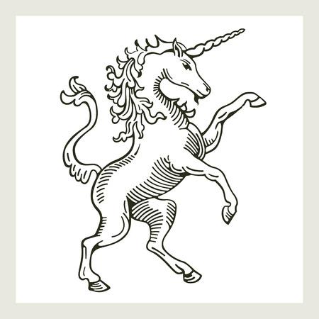 Rampant Unicorn A illustration of a rampant standing on hind legs unicorn