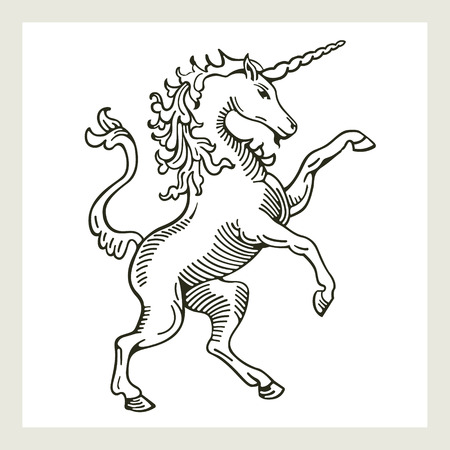 Přehnaný Unicorn Ilustrace nekontrolovatelné stojící na zadních nohou jednorožce