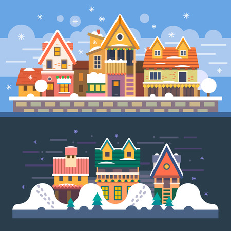 night time: Winter houses. Day and night. Snowfall. Christmas time. Vector flat illustration