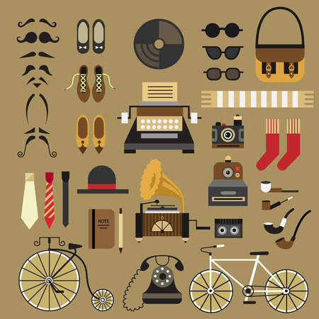 Retro set in flat style Retro set hipster style: mustache glasses shoes tie hat socks bag camera typewriter telephone patifon bike notepad. Vector flat icon set and illustrations