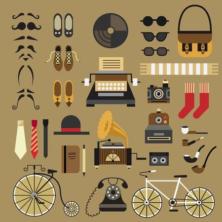 Retro mis en jeu style rétro plat style hippie: lunettes moustache chaussures cravate chaussettes chapeau sac caméra machine à écrire téléphone patiFon vélo bloc-notes. Vector icon plat set et illustrations Banque d'images - 40868949
