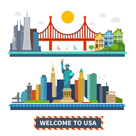 Bienvenido a EE.UU.. Nueva York y San Francisco paisajes. La Estatua de la Libertad y el puente Golden Gate. Ilustraciones vectoriales planas