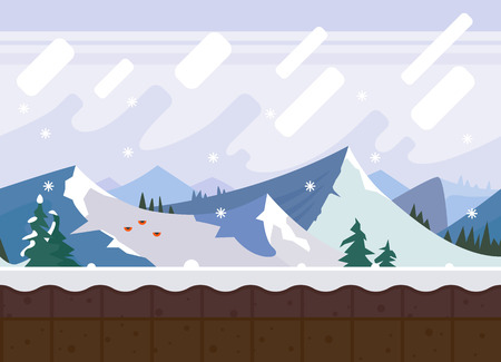 Winter mountains. Background for the game. Vector flat seamless texture