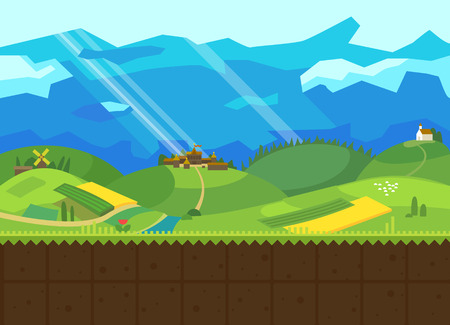 Hills and Valley. Vector flat background for the game. Seamless texture