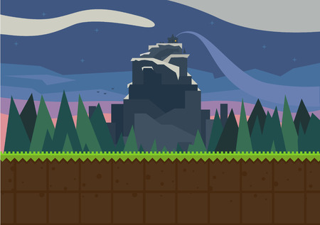 Forest and fortress. Vector flat background for the game.