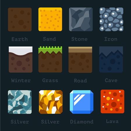 質地: 不同的材質和紋理進行遊戲。矢量平板瓦集。地面砂石金色銀色金屬熔岩雪鐵