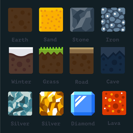 Different materials and textures for the game. Vector flat tile set. Ground sand stone gold silver lava metal iron snow Vettoriali