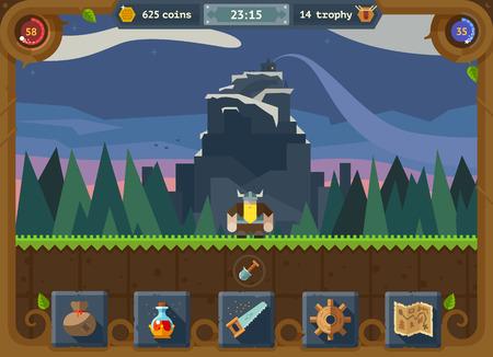medieval: La interfaz de usuario para el juego: los ajustes del menú principal anotar momento bosque mapa de fondo y el castillo. Vector estilo plano Vectores