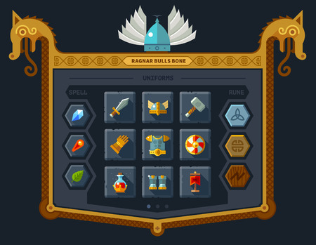 menu: The user interface for the game: main menu settings runes spells armor. Vector flat style