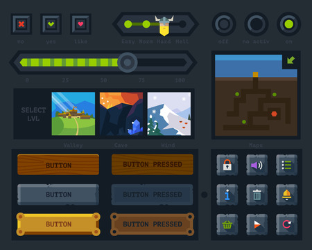 The user interface for the game: map buttons icons levels controls and settings. Flat vector style