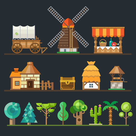 wagon: Old village. Different objects sprites: wagon cart mill trading shop stone house a hut with a thatched roof wooden well chest. Trees and plants: oak tree palm cactus. Vector flat style