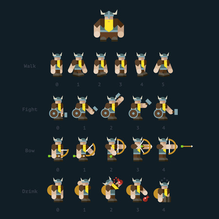 rpg: Viking. Steps for animation: viking walks fights bow drinks. Vector flat illustrations