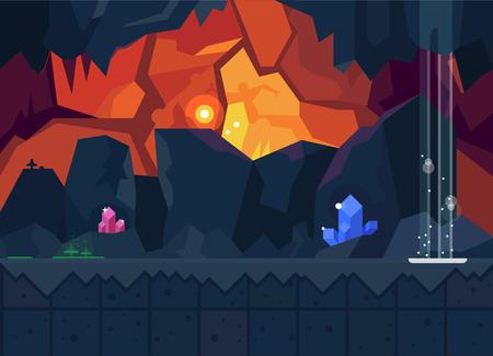cueva: Cueva misteriosa con cristales mágicos. Vector de fondo plano para el juego. Textura transparente