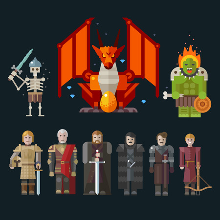 rpg: Different characters for the game: monster skeleton dragon warriors. Sprites. Vector flat illustrations.