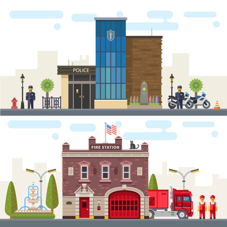 brandweer cartoon: Landschap met gebouwen politie en brandweer. Bescherming van de gezondheid en eigendommen van mensen het leven. Vector flat illustratie