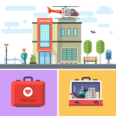 kit design: Hospital building with a helicopter on roof. Cityscape. Symbols of medicine: first aid kit with medicines. Vector flat illustration