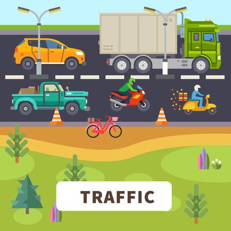 交通: 交通: トラックの車のオートバイは自転車に乗る道を原付け。ベクトル フラット図  イラスト・ベクター素材