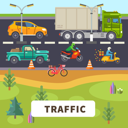 Traffic: truck car motorcycle moped bike ride down the road. Vector flat illustration Иллюстрация