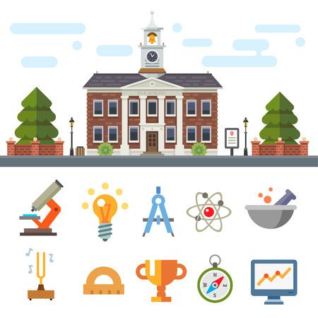 escuela infantil: Edificio de la escuela. Paisaje urbano. Símbolos de Educación y Ciencia: microscopio de luz brújula tubo molécula taza línea brújula. Vector ilustración plana