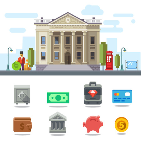 cartoon money: Bank building. Cityscape. Symbols of Business and Finance: money safe case diamond card purse piggy bank coin. Vector flat illustration