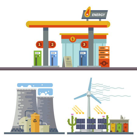 Energy and Gas Station. Urban and village landscape. Ecology. Vector flat illustration Stock Illustratie