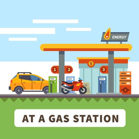 Bir benzin istasyonunda araba ve motosiklet. Şehir manzarası. Vektör düz illüstrasyon