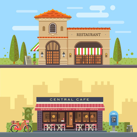 風景: 建物のレストラン、カフェのある風景します。都市の景観。ベクトル フラット図