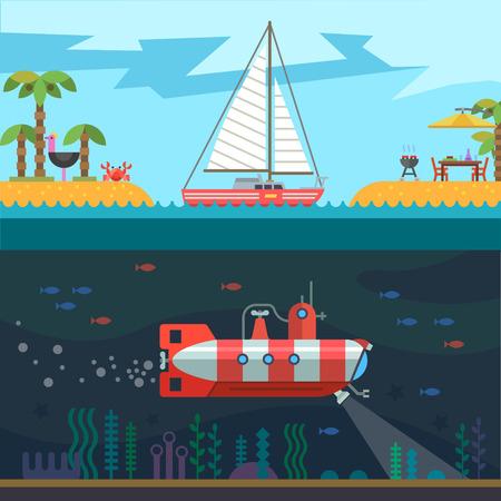 Rest on the sea: palms islands sail submarine. Vector flat illustration