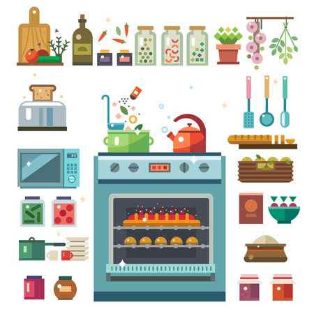 Illustrations of food in the cooking process Illustration