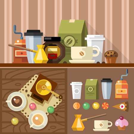grinder: Coffee in process devices for making coffee. offee grinder coffee maker cup beans biscuits and sweets Vector flat illustration