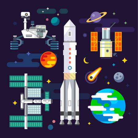 Spacecraft and space industry elements in vector flat illustration: moon planets comets rover