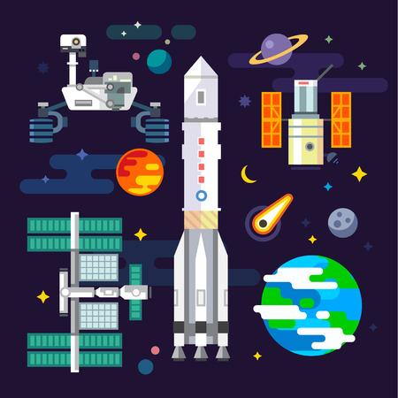 벡터 평면 그림에 우주선과 우주 산업 요소 : 달이 혜성 로버 행성 일러스트