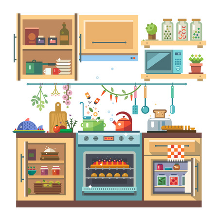 oven: Home kitchenware food and devices in color vector flat illustration. Stove oven with baking refrigerator condiments