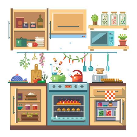 Otthon konyhai élelmiszer és készülékek színes vektoros sima illusztráció. Tűzhely sütő, sütő hűtőszekrény fűszerek