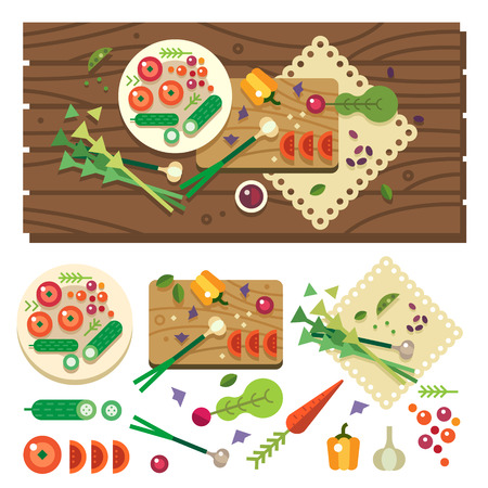 tables: Dining table with vegetables top view. Diet. Vegetarian food. Cooking in kitchen vegan salad in process. Vector flat illustration