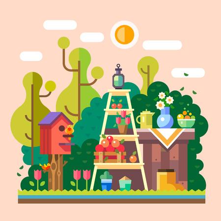 canastas de frutas: Verano en el jardín de la aldea. Campo. Flores frutas verduras. Vector ilustración plana