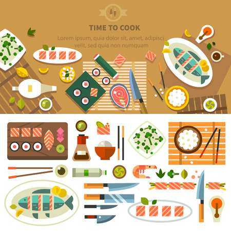 Dining table with dishes in top view. Restaurant asian cuisine: chef prepares sushi and fish. Devices for cooking kitchenware. Vector flat illustration Ilustração