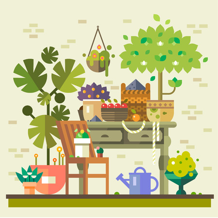 bailer: Harvest in countryside. Table with flowers vegetables and fruits warehouse watering and care. Summer village. Vector flat illustration