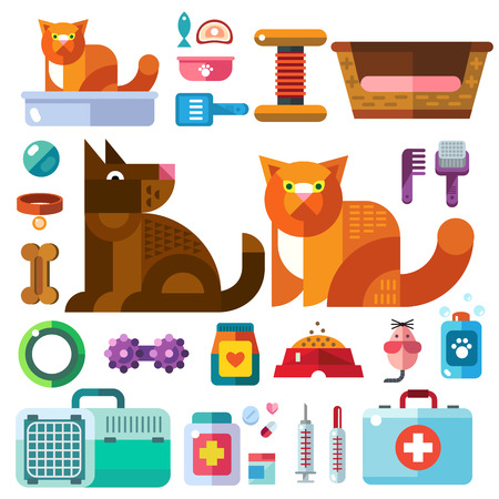 Domestic animals with their toys. Pet shop. Accessories goods for care of pets in icons color vector flat illustration