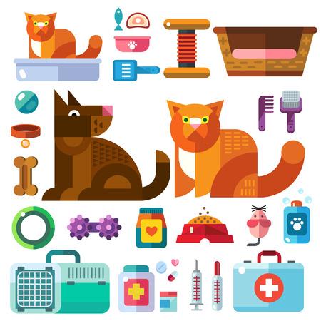 pelota caricatura: Los animales dom�sticos con sus juguetes. Tienda de mascotas. Accesorios bienes para el cuidado de animales de compa��a en los iconos de color vector plana ilustraci�n Vectores
