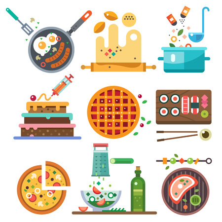 Illustrations of food in the cooking process. The whole range of food fried boiled vegetarian national. Healthy eating diet and fast food. Vector flat illustration
