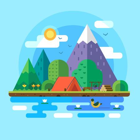 산에서 아침 풍경. 강 자연 속에서 고독. 텐트에서 주말. 하이킹과 캠핑. 벡터 평면 그림