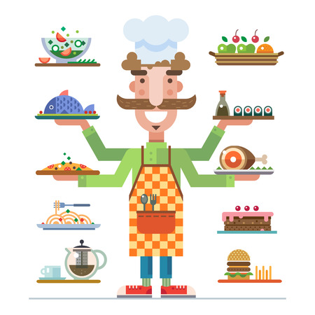 restaraunt: Chef offers a range of beautiful served dishes. Meal in a restaurant. Career in catering. Catering business. Vector flat illustration