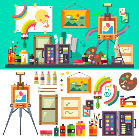 Art studio tools for creativity and design Stock Illustratie