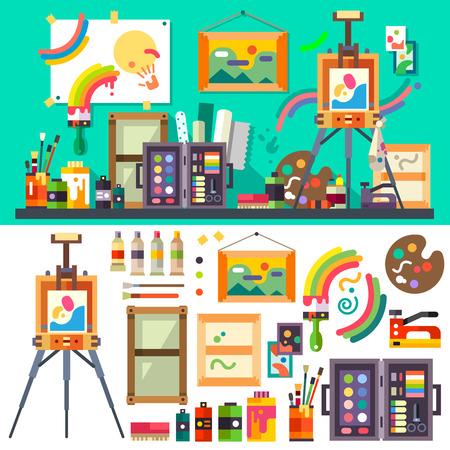 Yaratıcılık ve tasarım için sanat stüdyosu araçları Çizim